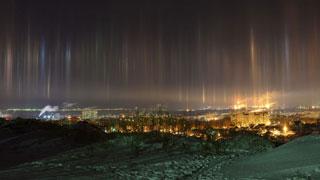 Саратовцы наблюдали световые столбы над городом