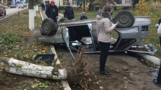 Легковушка снесла дерево и перевернулась на пешеходной дорожке